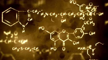 chemistry : flying chemical formulas loopable grunge background Stock Footage