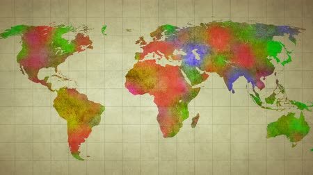 európa : watercolor world map animation Stock mozgókép