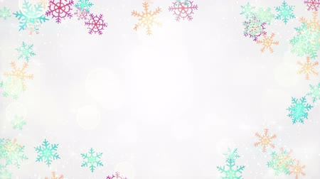 borders : multicolor snowflakes frame. computer generated seamless loop christmas motion background Stock Footage