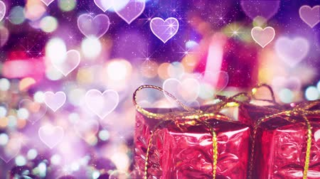 hediye kutusu : gift box and heart bokeh lights seamless loop 4k 4096x2304