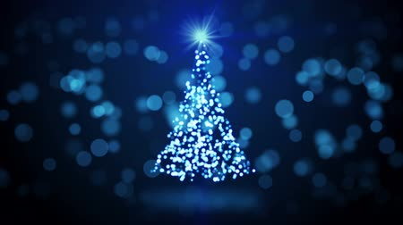 рождественская елка : blue christmas tree blurred lights. computer generated seamless loop abstract motion background