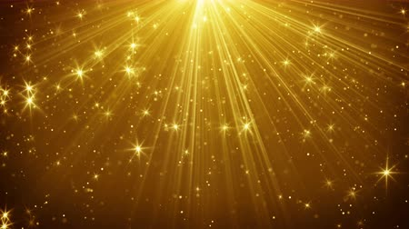 ışınları : gold light rays and stars loopable background 4k 4096x2304 Stok Video