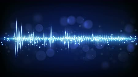 elektronický : blue audio waveform. computer generated seamless loop technology motion background. 4k 4096x2304