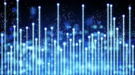 blue music equalizer. Computer generated seamless loop abstract motion background. 4k 4096x2304 Vídeos