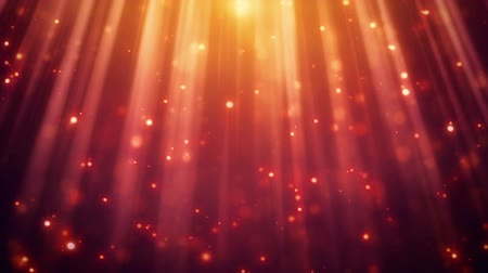 red background : festive glitter particles in light rays. computer generated seamless loop abstract motion background