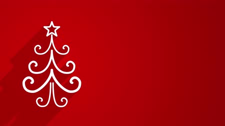 ünnepies : christmas tree shape with long shadows on red 4k 4096x2304