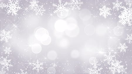 srebro : silver snowflakes frame. computer generated seamless loop christmas motion background Wideo