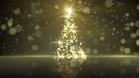 holidays : christmas tree shape of gold glares. computer generated seamless loop holiday motion background Stock Footage