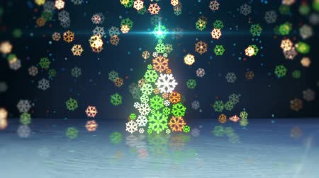 рождество : christmas tree shape and reflection. computer generated seamless loop abstract motion background