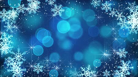 borders : blue snowflakes and blinking stars. computer generated seamless loop christmas motion background