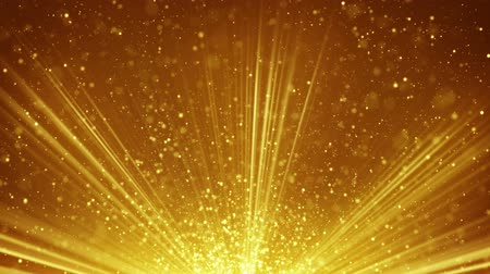 golden light rays and particles. computer generated seamless loop abstract motion background