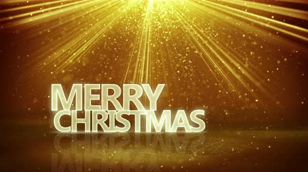 to celebrate : merry christmas sign and gold rays loopable animation 4k 4096x2304