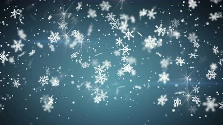 nevando : snowfall on blue seamless loop christmas background 4k 4096x2304