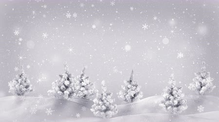 srebro : snow covered trees christmas animation loop 4k 4096x2304