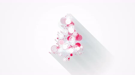 рождество : red white christmas tree shape. Seamless loop flat style animation with long shadows. 4k 4096x2304 Стоковые видеозаписи