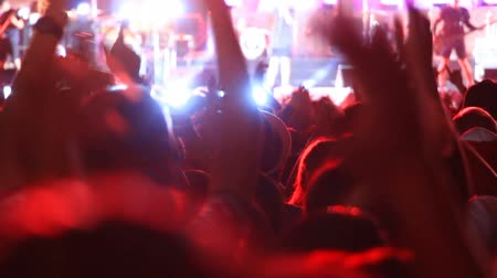 rock concert : applauding crowd of fans at rock concert