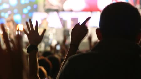 koncert : jumping crowd of fans at rock concert