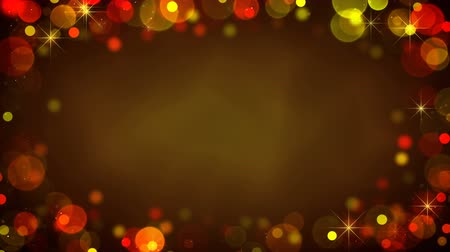 Frame of glowing blurry golden lights and blinking stars. Holiday abstract seamless loop animation background 4k (4096x2304)