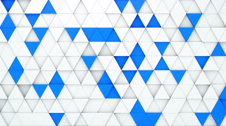 trójkąt : White and blue extruded triangles. 3D render seamless loop abstract geometric background. 4k UHD (3840x2160)