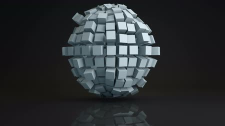 esferas : Ball cluster of cubes deforming. Geometric sci-fi shape with reflection. Computer generated seamless loop animation. Abstract 3D render UHD (3840x2160)