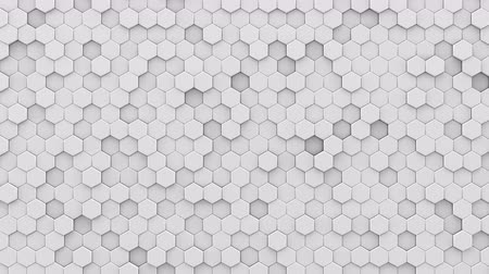 сетка : White hexagons mosaic. 3D render seamless loop abstract background. 4k UHD (3840x2160)