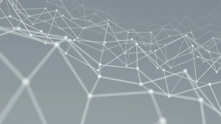 gray background : Wireframe network shape vibrate. Computer generated seamless loop technology motion background. Abstract 3D render. 4k UHD (3840x2160) Stock Footage