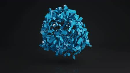 esferas : Ball cluster of blue bricks. Geometric sci-fi shape with reflection. Computer generated seamless loop animation. Abstract 3D render UHD (3840x2160)