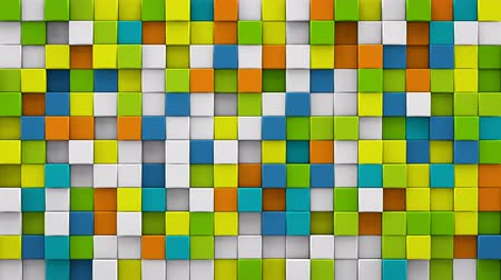 geometric : Bright colorful extruded cubes mosaic. Geometric 3D render animation. Computer generated seamless loop abstract background 4k UHD (3840x2160)