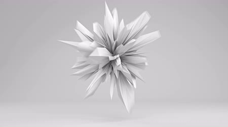 lüktet : White sharp edged 3D shape pulsating. Abstract semless loop 3D render smooth animation with motion blur. 4k UHD (3840x2160) Stock mozgókép
