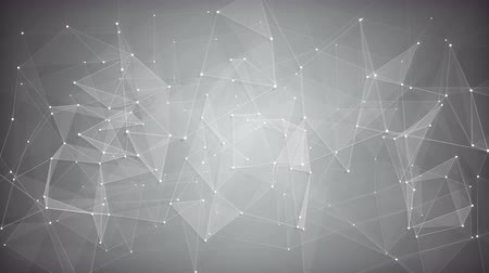 gray background : White sci-fi network shape. Abstract futuristic technology background. Computer generated seamless loop smooth animation 4k UHD (3840x2160) Stock Footage
