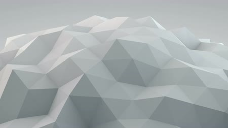 техно : White polygonal shape vibrating. Abstract geometrical modern background. Semless loop 3D render smooth animation 4k UHD (3840x2160)