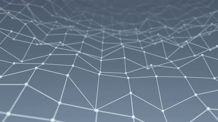 lüktet : Wireframe network shape vibrate. Computer generated seamless loop technology motion background. Abstract 3D render. 4k UHD (3840x2160) Stock mozgókép