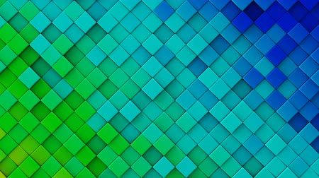 geométrico : Blue and green gradient of rhombs. Geometric 3D render animation. Computer generated seamless loop abstract background 4k UHD (3840x2160)