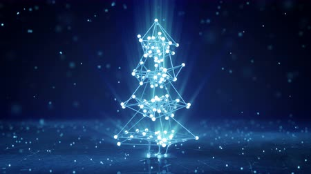 техно : Glowing wireframe christmas tree shape. Abstract holiday 3D render. Seamless loop smooth animation with motion blur 4k (4096x2304)