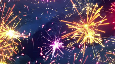 четверть : beautiful fireworks with lots of multicolor bangs. computer generated seamless loop christmas animation Стоковые видеозаписи