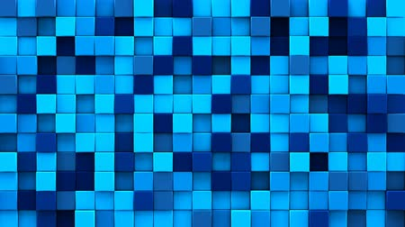 ruído : Randomly extruded blue cubes mosaic. Geometric 3D render smooth animation. Computer generated seamless loop abstract background 4k UHD (3840x2160)