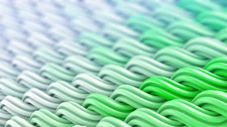 lacy : White green curles ornament. Abstract background. Computer generated seamless loop 3D animation 4k UHD (3840x2160) Stock Footage