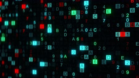 chráněný : Digital data hex code on screen. Abstract information technology concept. Computer generated seamless loop animation rendered with DOF 4k UHD (3840x2160)