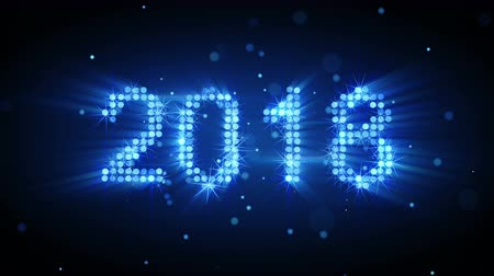 New year 2018 greeting glowing blue particles animation. The last 10 seconds are loopable 4k UHD (3840x2160)