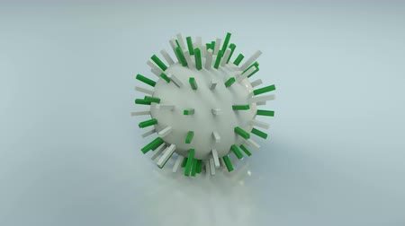 faceted : White sphere with green blocks are rotating. Seamless loop animation. 3D rendering computer graphic 4k UHD 3840x2160 Stock Footage