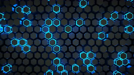 favo de mel : Wall of glowing blue hexagons. Futuristic technology concept. Seamless loop 3D render animation 4k UHD 3840x2160
