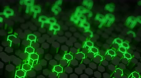 hexagon glow : Futuristic green honeycomb structure. Abstract computer graphics. 3D render with DOF seamless loop animation 4k UHD 3840x2160 Stock Footage