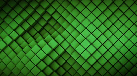 rhombic : Wall of green rhombus shapes. Abstract motion background. 3D render seamless loop animation Stock Footage