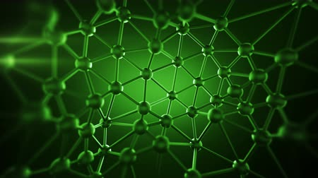 atomů : Green plexus structure with lines and spheres. Futuristic network concept. Abstract 3D rendering with DOF. Seamless loop animation 4k UHD (3840x2160) Dostupné videozáznamy