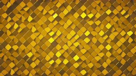 rhombic : Gold rhombus pattern surface. Abstract computer graphics. 3D render seamless loop animation 4k UHD 3840x2160 Stock Footage