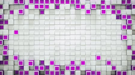 extrude : Frame of purple boxes and free space. Abstract motion background. 3D render seamless loop animation 4k UHD 3840x2160