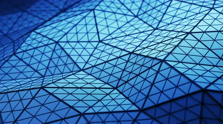 subdivided : Blue low poly triangulated shape with subdivided polygons. Futuristic abstract distorted construction. Seamless loop 3D render animation 4k UHD 3840x2160 Stock Footage