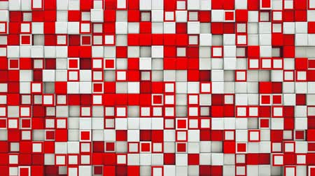 red square : Wall of red and white cubes. Abstract motion background. 3D render seamless loop animation 4k UHD 3840x2160