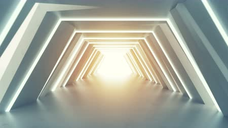 fluorescent : Futuristic tunnel with fluorescent lights. Sci-fi interior corridor. 3D render seamless loop animation 4k UHD 3840x2160 Stock Footage