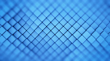 extrude : Wall of blue rhombic shapes. Abstract motion background. 3D render seamless loop animation
